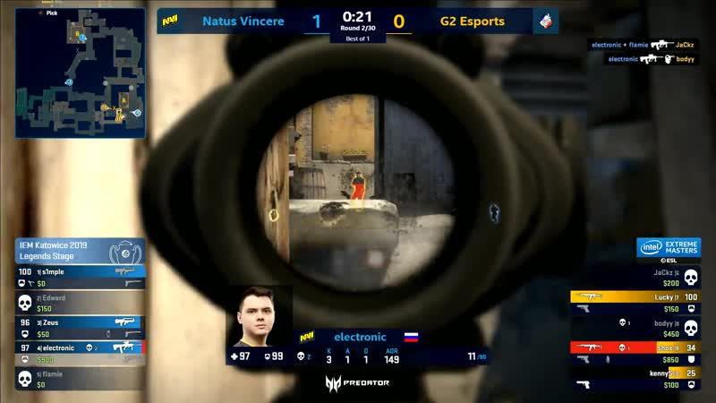 3 kills by electronic vs G2 Esports @ IEM Katowice 2019 New Legends Stage