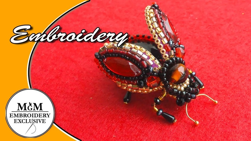 Hand Embroidery| Brooch Fly| Beetly | Вышивка Брошь Муха Жук