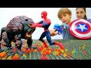 ЧеловекПаук vs Теутан Ловушка для МОНСТРА 🔫 Бластер с паутиной Спайдермен Вид