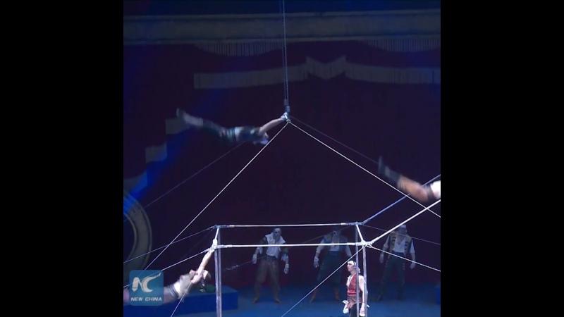 Выступление акробатов на разновысоких брусьях