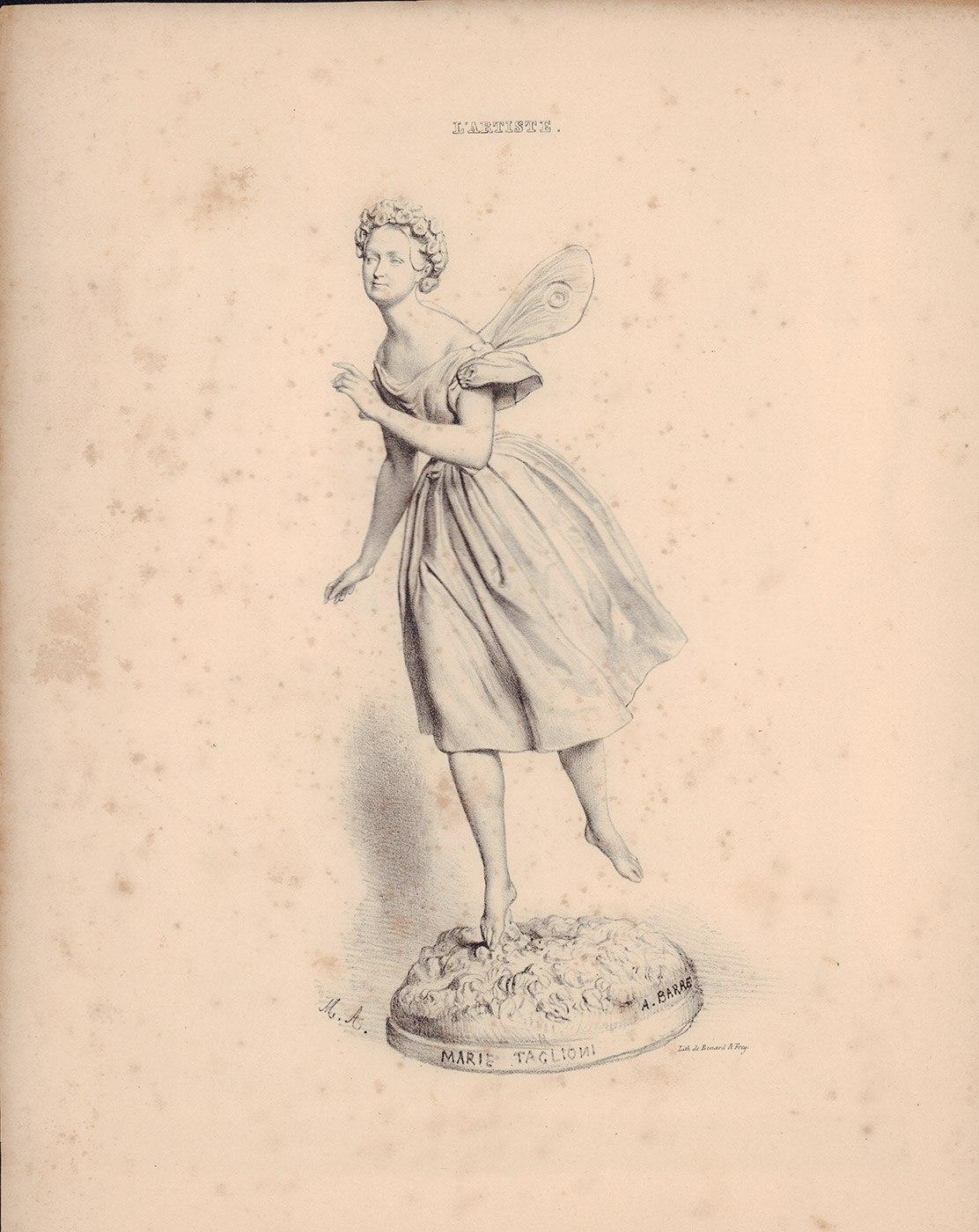 Литография с изображением Марии Тальони