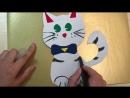 Котенок из цветного картона и бархатной самоклеящейся бумаги Каляка Маляка