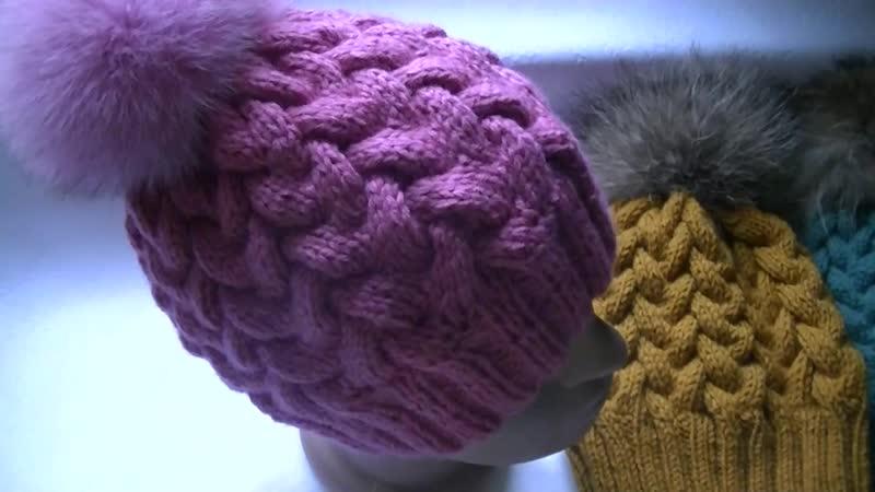 Вязание шапки узором Коса с 12 петель.Knitting hats pattern Kos with 12 loops.mp4