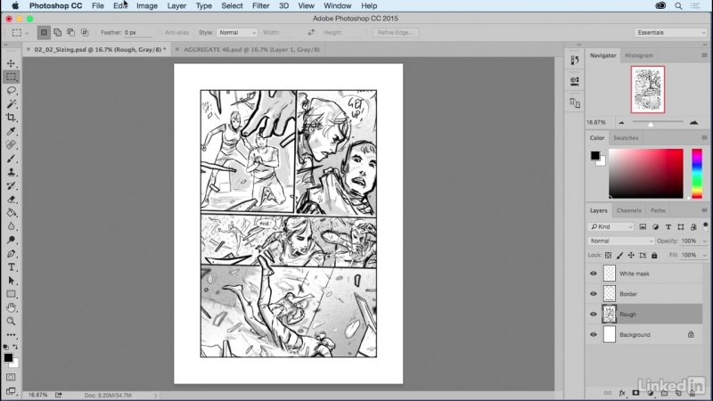 Lynda - Comic Book Digital Inking and Refinement - 03_02-Sizing artwork and arranging layers
