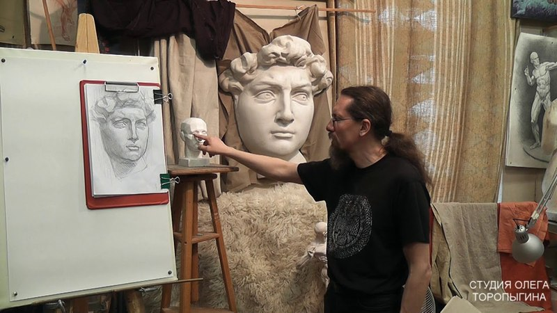 Рисунок маски Давида (1). Обучение рисунку. Портрет. 51 серия