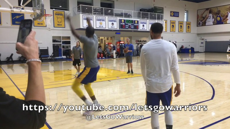 Kevin Durant and Steph shooting together, later Curry dunks and hits the walk-away kickball shot