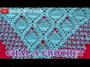 Como tejer un Chal triangular en V o en punta a crochet ganchillo paso a paso en punto Piñas