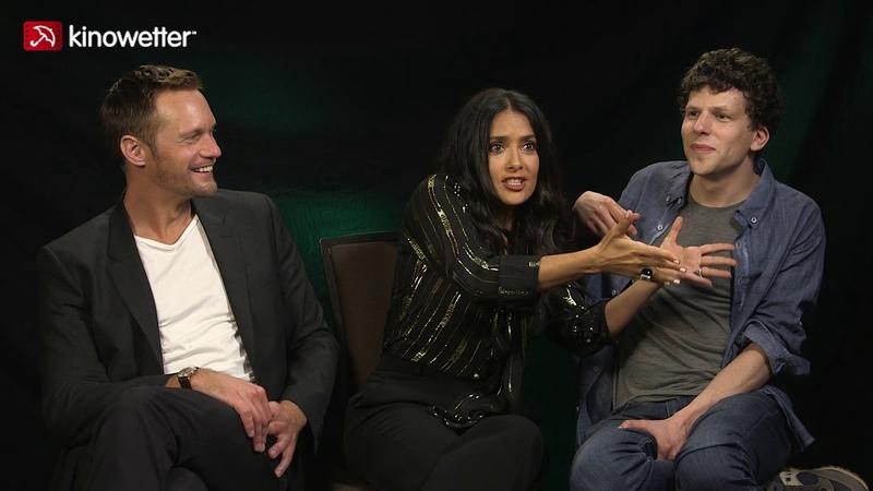 Interview Alexander Skarsgård Salma Hayek und Jesse Eisenberg The Hummingbird Project