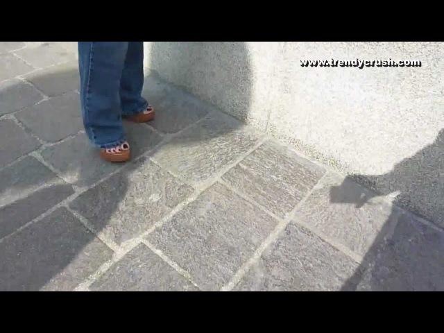 High Heels Candid Camera walking crushing cigarette Wedges 024v Black Enamel (1)