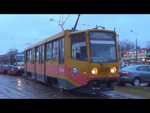 Трамвай-буксир 71-608 (КТМ-608) со сломанным трамваем 71-619 (КТМ-19)!