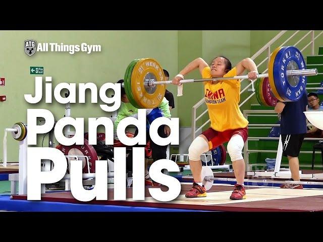 Jiang Huihua (48kg) Snatch High Pulls / Panda Pulls up to 100kg 2016 Junior Worlds