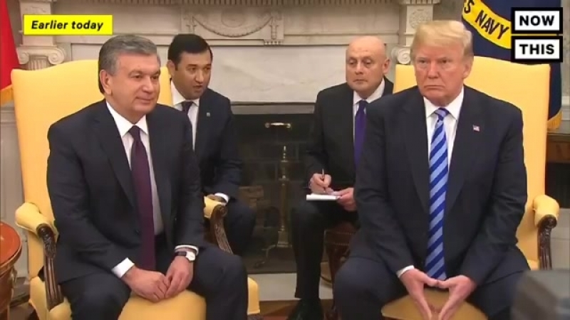 Pres Trump welcomes the president of Uzbekistan in the Oval Office President Mirziyoyev has been criticized as an authoritaria
