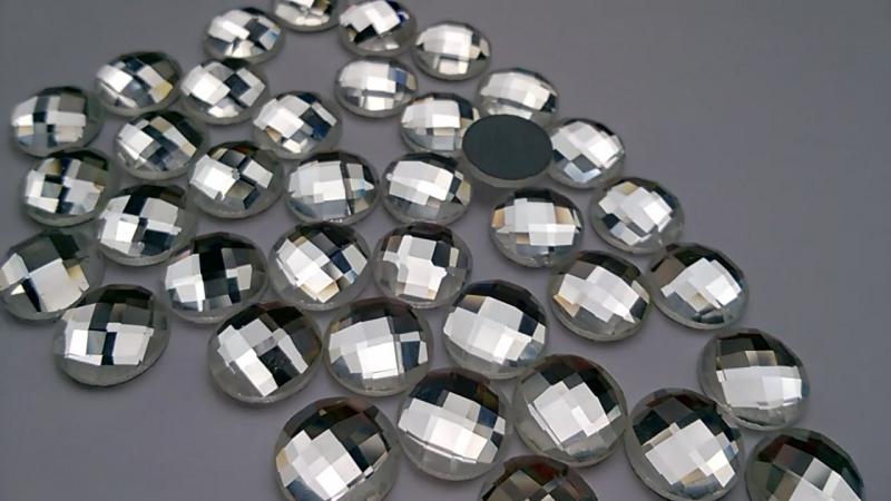 Камни из стекла не пришивные, круглые, Crystal, 12 мм