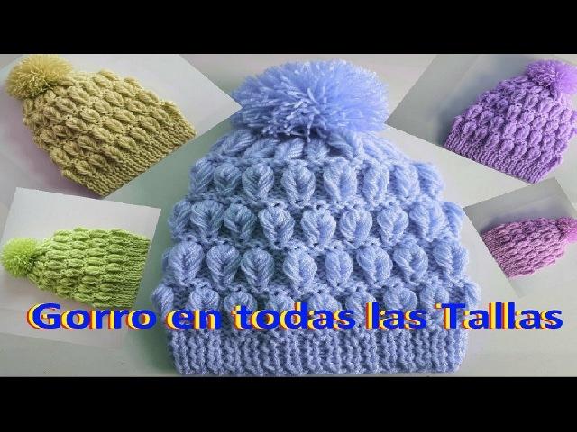 🔴 Gorro para bebe - niños y adultos en dos agujas / hojas tejidas en relieve - 3D en dos agujas