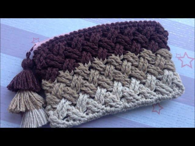 Crochet Celtic Weave Stitch Purse with zipper (step by step tutorial)
