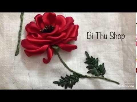 Hướng dẫn thêu hoa hồng đỏ