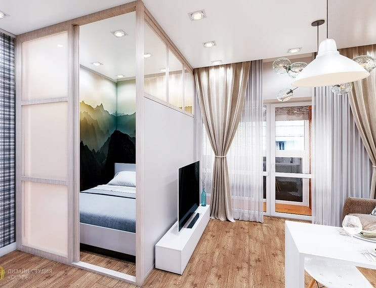 Проект интерьера квартиры-студии, площадь 38 м.